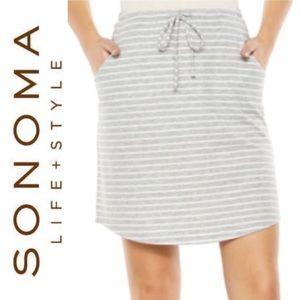 🆕 Striped Drawstring Lounge Skirt SONOMA Grey Wht